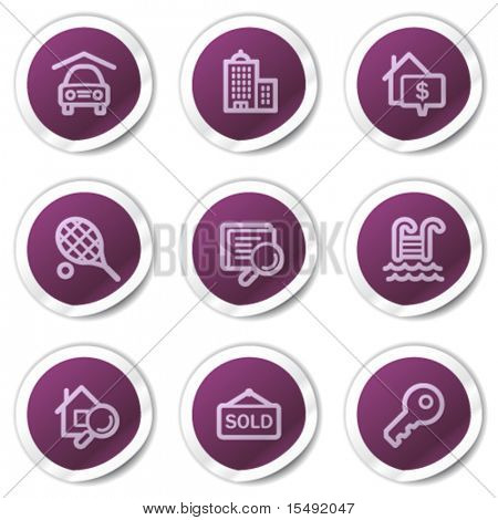 Real estate web icons, purple stickers series