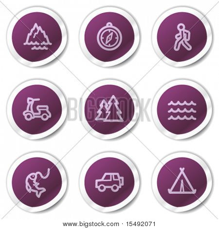 Travel web icons set 3, purple stickers series