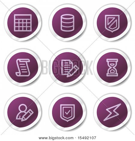Database web icons, purple stickers series