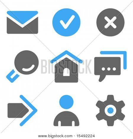 Web básico iconos, iconos sólidos azules y gris