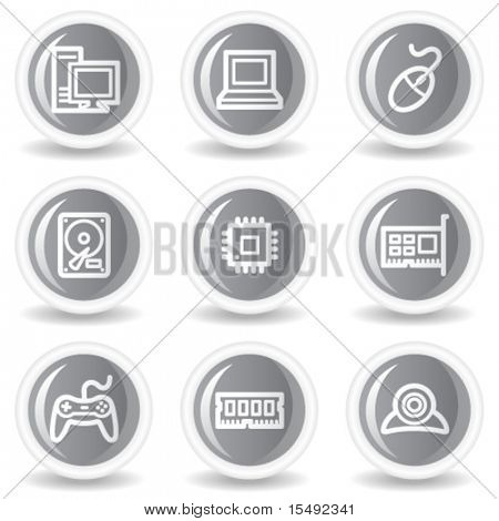 Computer  web icons, circle grey glossy button