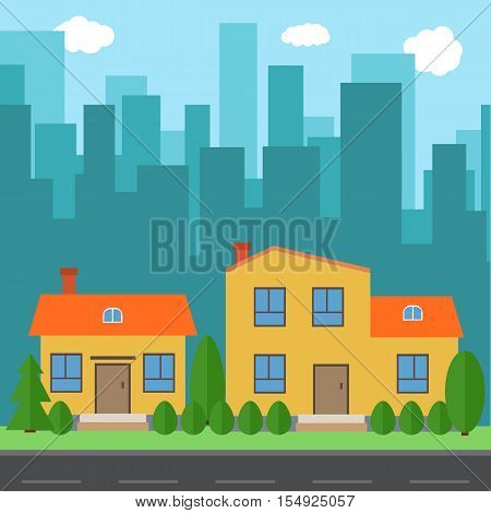 Vector city with cartoon houses and buildings. City space with road on flat syle background concept. Summer urban landscape. Street view with cityscape on a background