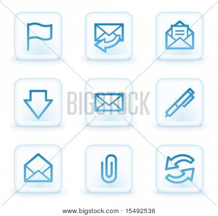 E-mail web icons, white square buttons