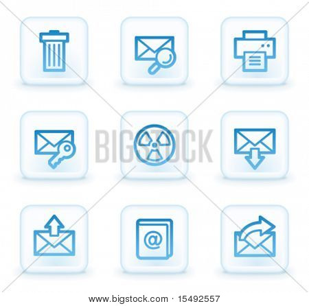 E-mail web icons set 2, white square buttons