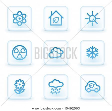 Ecology web icons set 2, white square buttons