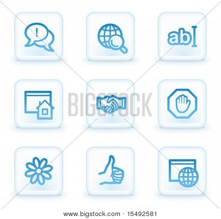 Internet web icons set 1, white square buttons
