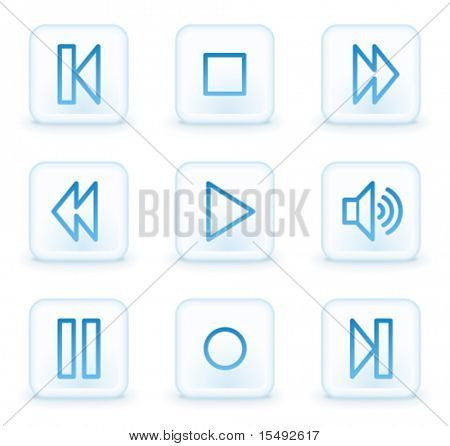 Walkman web icons, white square buttons