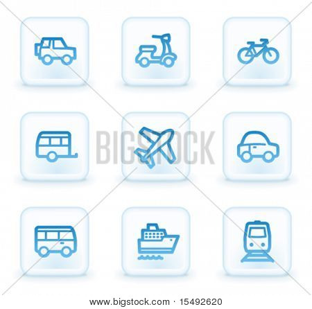 Transport web icons, white square buttons