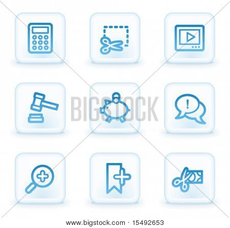 Shopping web icons set 3, white square buttons