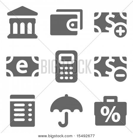 Finance web icons set 2, grey solid series