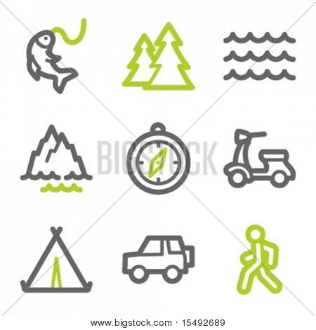 Travel web icons set 3, green and gray contour series