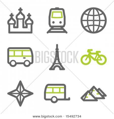 Travel web icons set 2, green and gray contour series