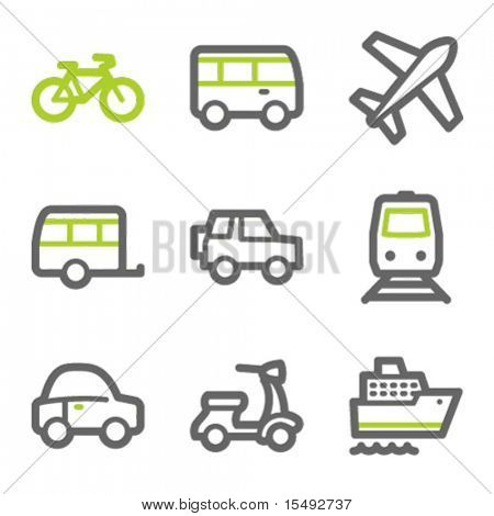 Transport web icons, green and gray contour series