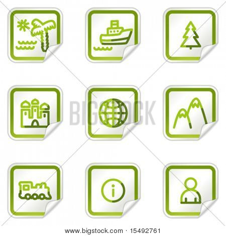 Travel web icons set 1, green stickers series