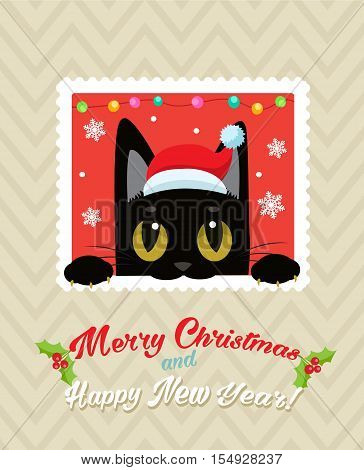 Christmas Vector Card With Cute Cat. Holiday Cartoon Greeting Card. Merry Christmas Happy New Year Congratulation Image. Funny Black Cat Vector.