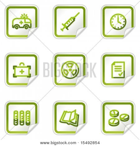 Medicine web icons set 1, green stickers series