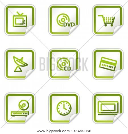 Media web icons, green stickers series