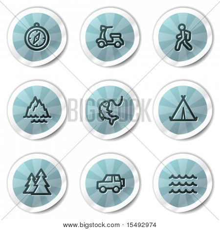 Travel web icons set 3, blue shine stickers series