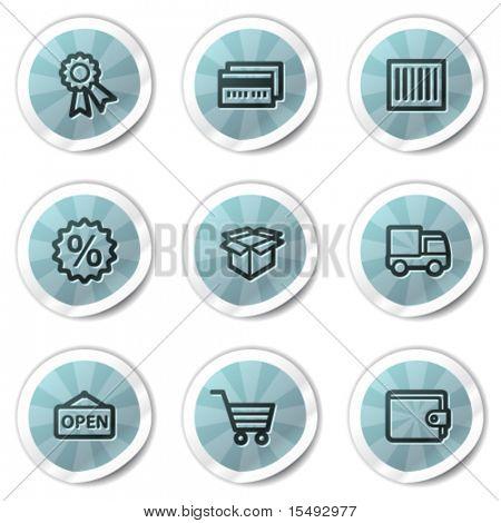 Shopping web icons set 2, blue shine stickers series