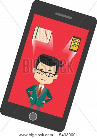 Thinking cartoon businessman on phone screen - what to use paper notepad or digital gadget