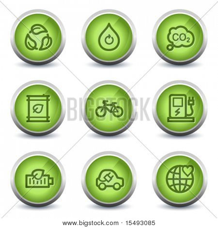 Ecology web icons set 4, green glossy set