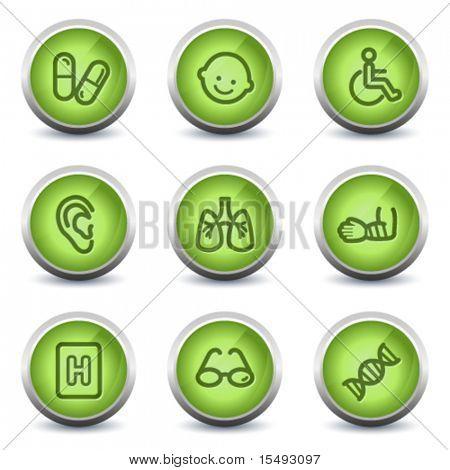 Medicine web icons set 2, green glossy set