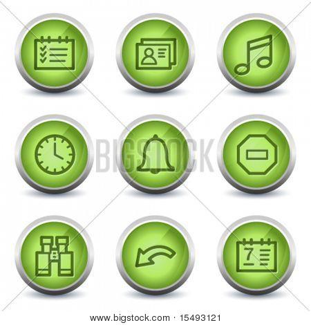 Organizer web icons, green glossy set