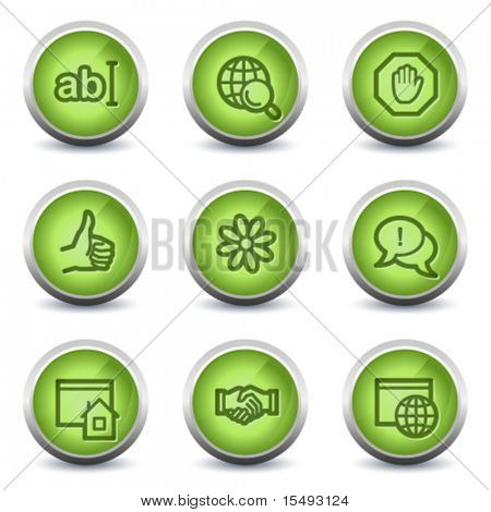 Internet web icons set 1, green glossy set