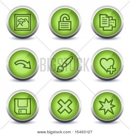 Image viewer web icons set 2, green glossy set