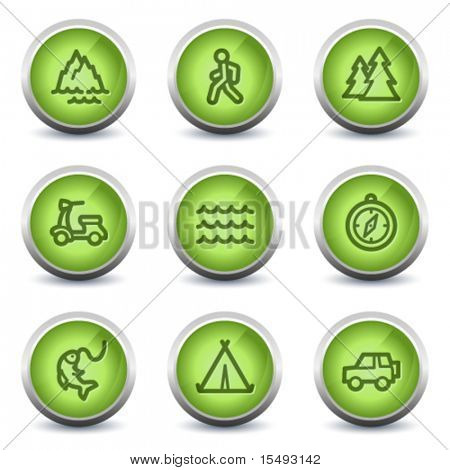 Travel web icons set 3, green glossy set