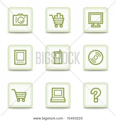 Electronics web icons set 1, white glossy buttons