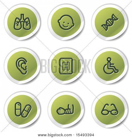 Medicine web icons set 2, green circle stickers
