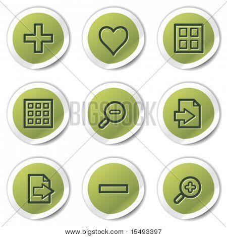 Image viewer web icons set 1, green circle stickers