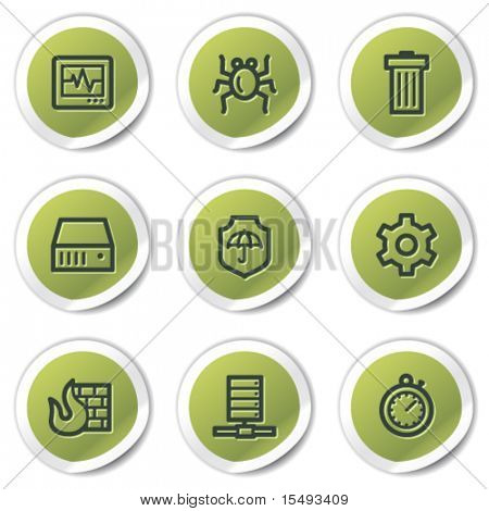 Internet security web icons, green circle stickers