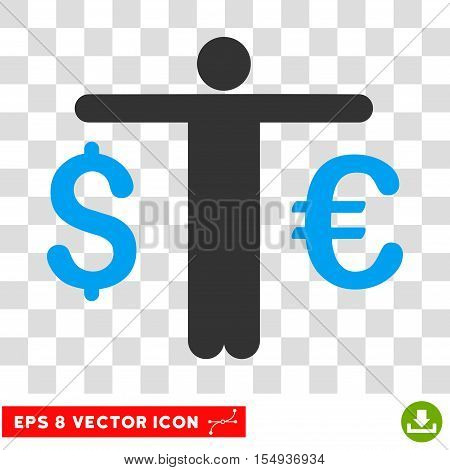 Currency Trader EPS vector pictogram. Illustration style is flat iconic bicolor blue and gray symbol on white background.