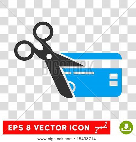 Cut Credit Card EPS vector pictogram. Illustration style is flat iconic bicolor blue and gray symbol on white background.
