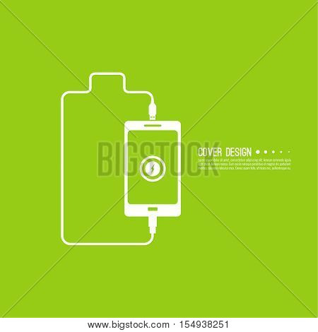 Abstract background with charge mobile phones. usb cable is connected to the smartphone. The concept  power charging. Vector icon. Battery