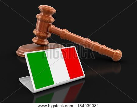 3D Illustration. 3d wooden mallet and Italian flag. Image with clipping path