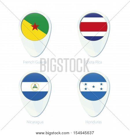 French Guiana, Costa Rica, Nicaragua, Honduras Flag Location Map Pin Icon.