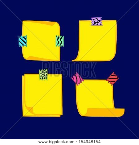 Four yellow note papers with washi tape in cartoon style, memo with curled corners, colorful decorative paper tape, isolated note paper on blue background, EPS 8