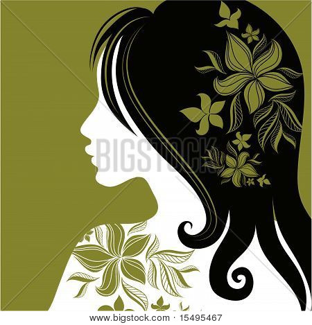 Vector closeup portrait of woman with flower in long hair