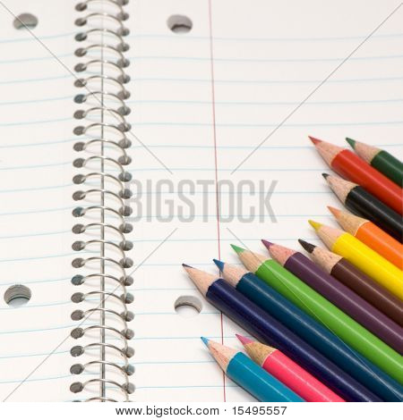 Color pencils and pocket-book