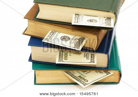 Books with bookmarks on a white background.