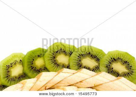banana and kiwi isolated on a white background