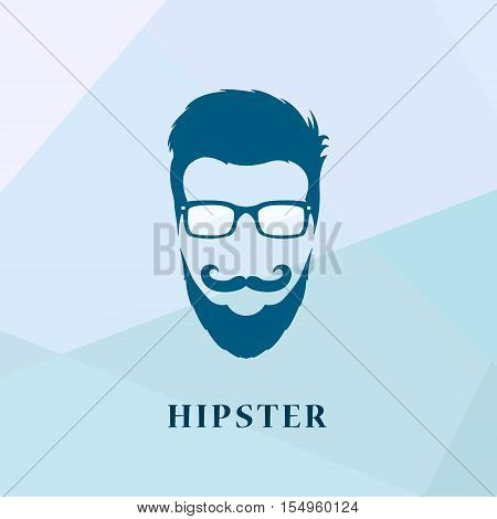 Hipster people of glasses and a mustache with a beard isolated on multicolor background.Geek logoman old school logo template. Vector illustration.