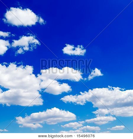 Beautiful white fluffy clouds in the blue sky