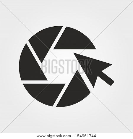 Online photos. Vector icon isolated on grey background.