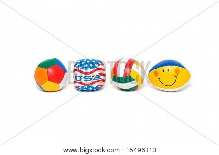 Multi-colored balls isolated on a white background.