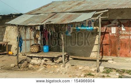 ZANZIBAR, TANZANIYA- JULY 12: simple street in african village on July 12, 2016 in Zanzibar