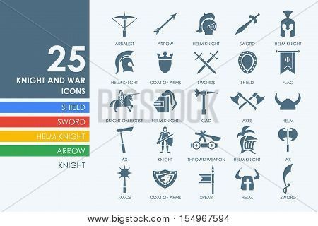 knight and war vector set of modern simple icons